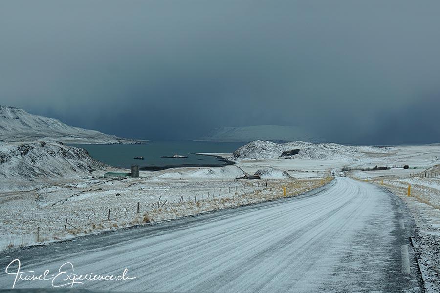 Island, Iceland, Winter, Hvalfjoerdur, aufziehender Schneesturm,