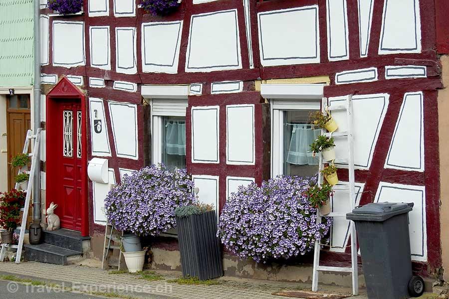 Deutschland, Rheinland-Pfalz, Idar-Oberstein, Deutsche Edelsteinstrasse, Herrstein, Riegelhaus, Blumenschmuck