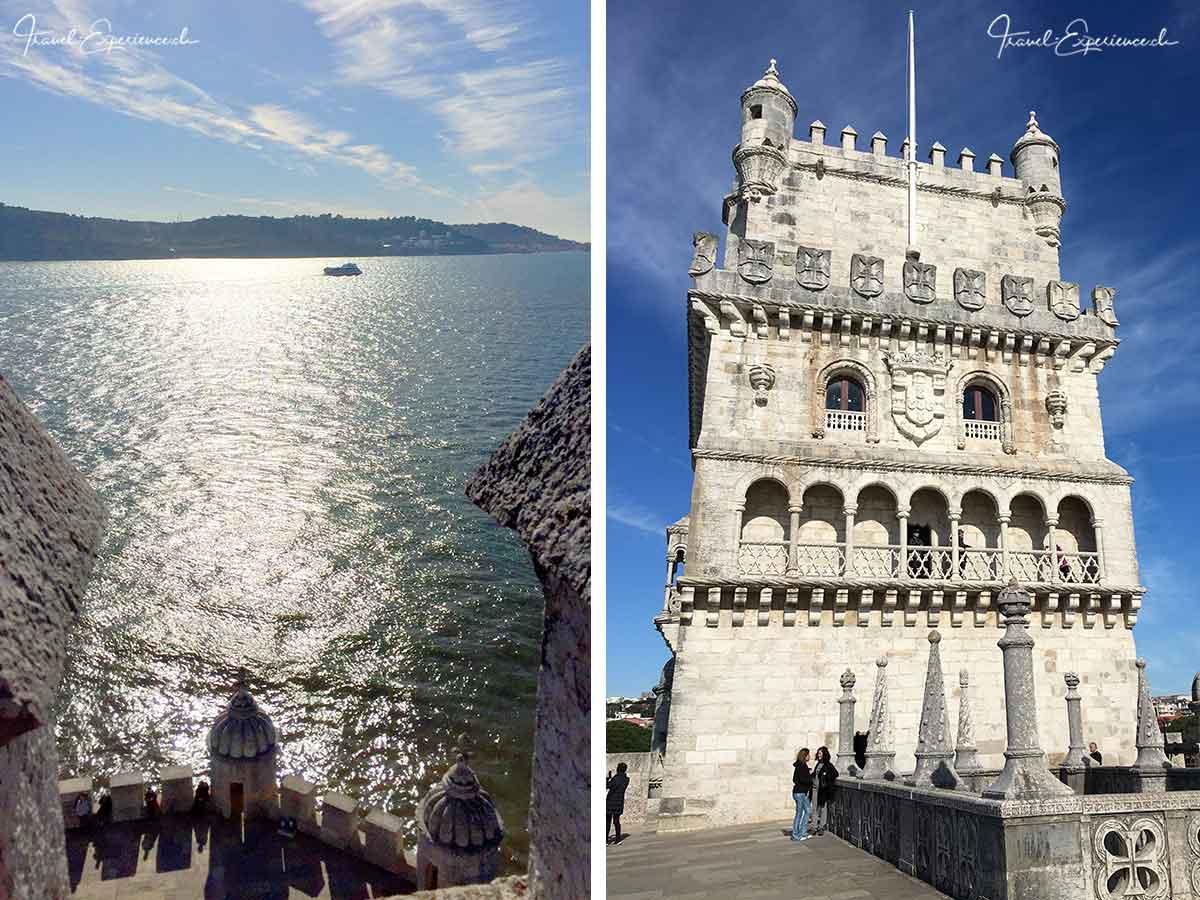 Aussicht und Ansicht des Torre de Belem in Belem, Portugal