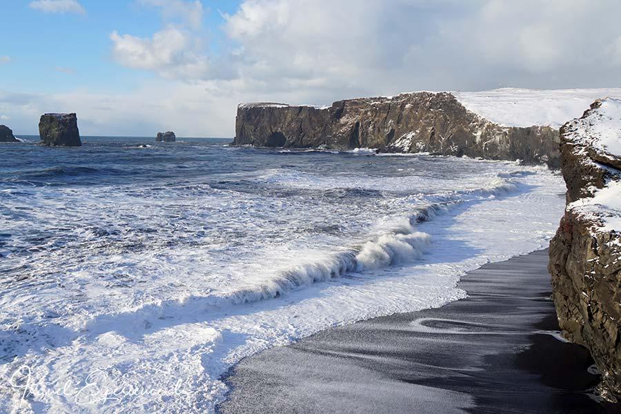 Island, Iceland, Winter, Suedkueste, Dyrholaey, Strand, Felstor,