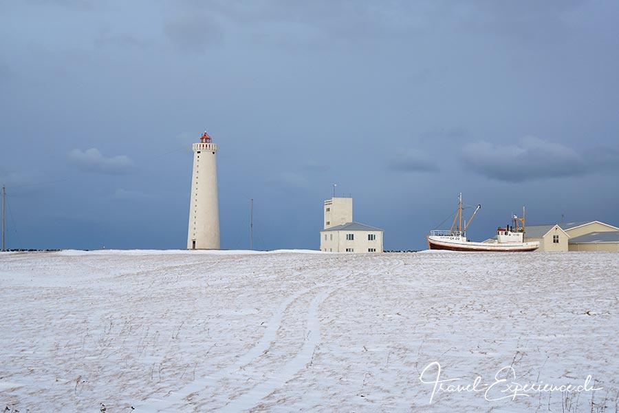 Island, Iceland, Winter, Gardur, Leuchtturm,