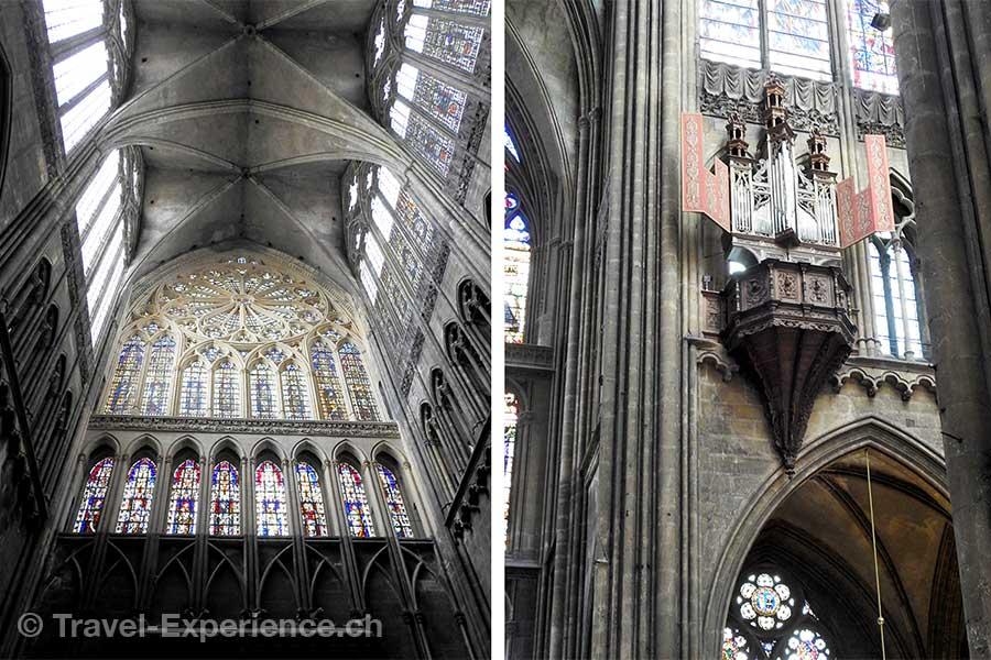 Frankreich, Metz, Katzedrale, Buntglasfenster, Schwalbennestorgel