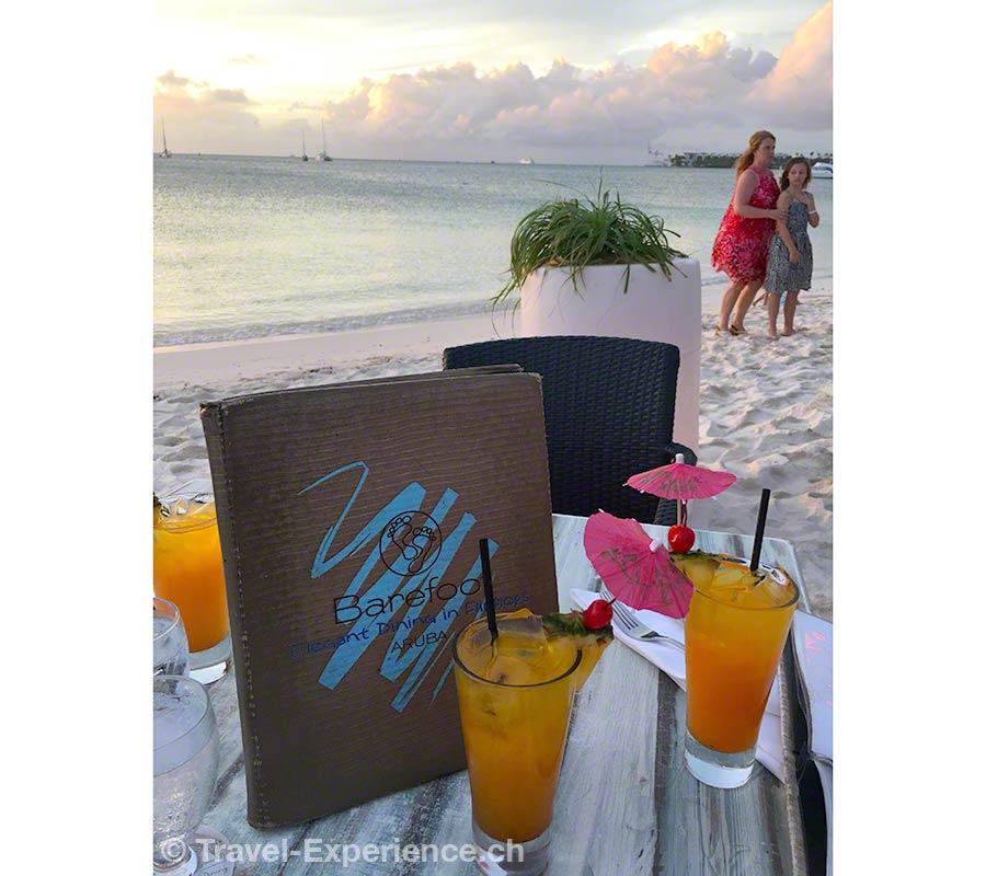 Karibik, Aruba, Barefoot, Beachbar, Cocktail