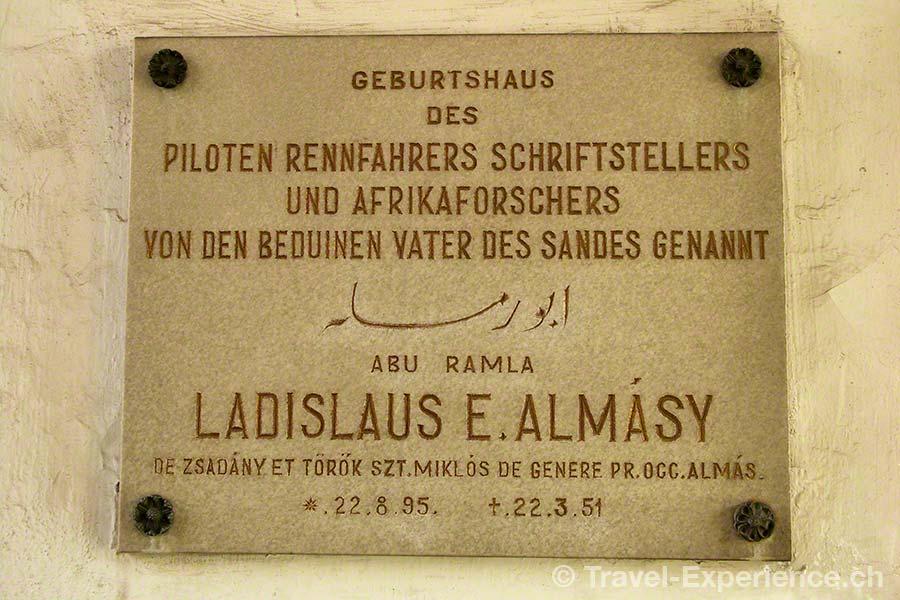 Oesterreich, Burgenland, Burg Bernstein, Schild Ladislaus Almasy, englische Patient, english patient, Geburtsort