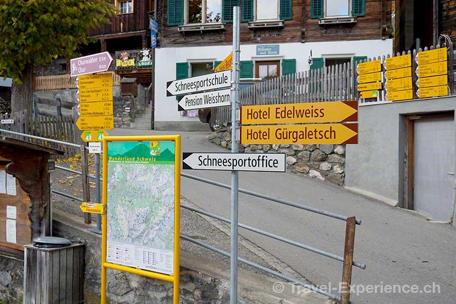 Schweiz, Graubünden, Tschiertschen, Wegweiser, Wandern