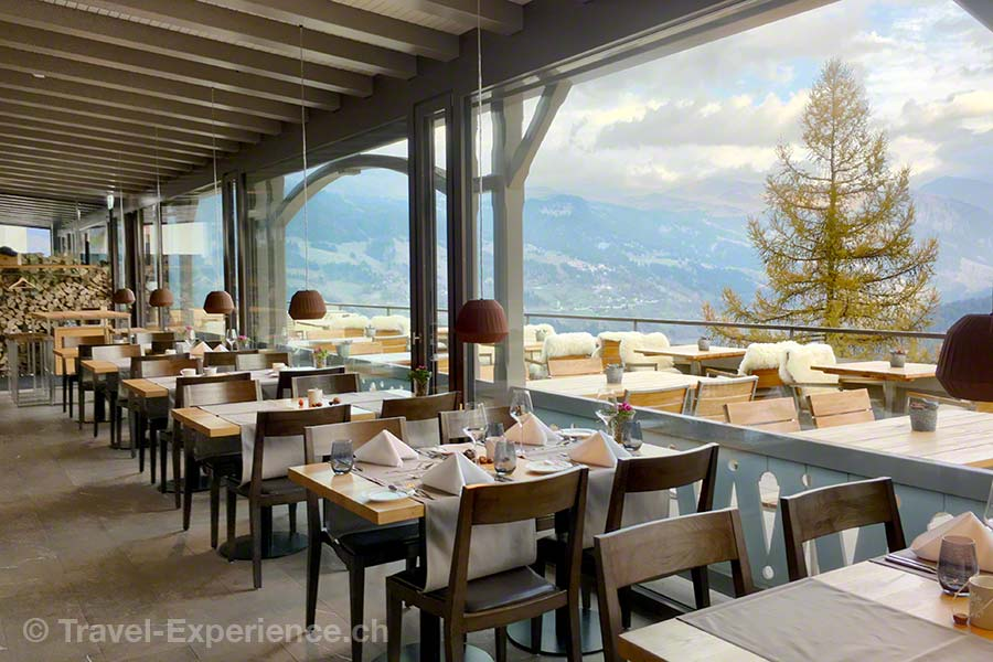 Schweiz, Tschiertschen, Alpina Mountain Resort & Spa, Restaurant, Panorama, Aussicht