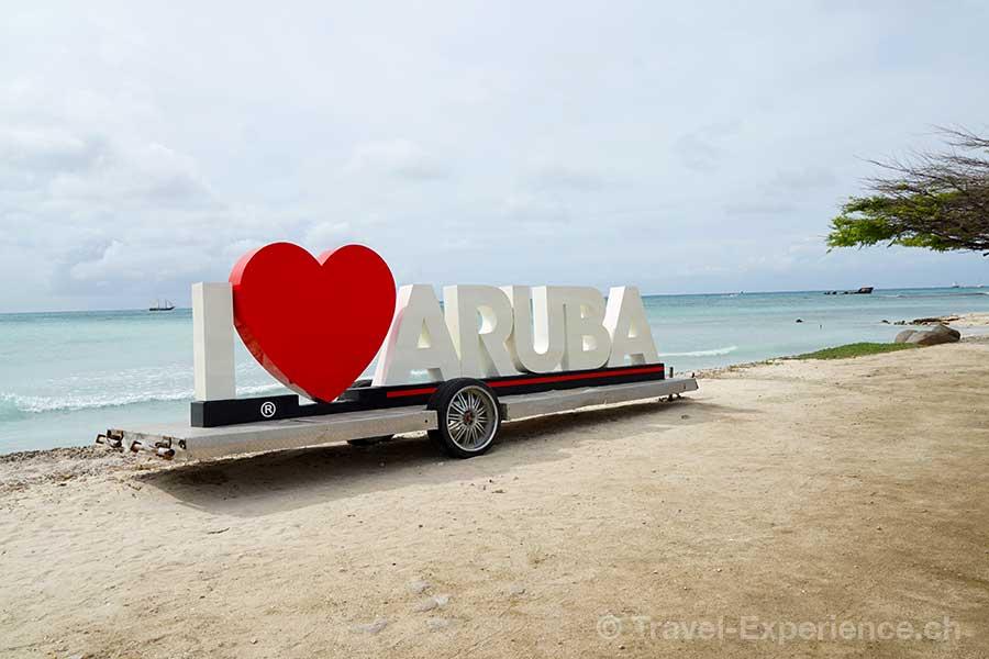 Karibik, Aruba, i love aruba, schild