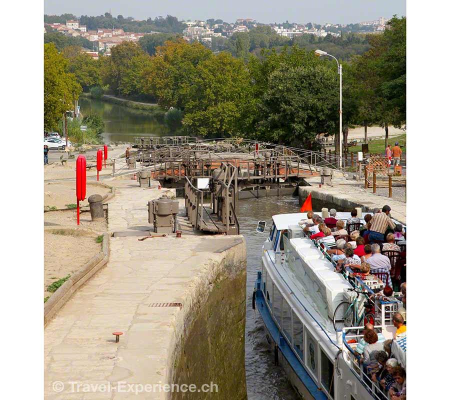 Frankreich, Canal du Midi, Hausboot, 7-fach Schleuse, Fonserannes
