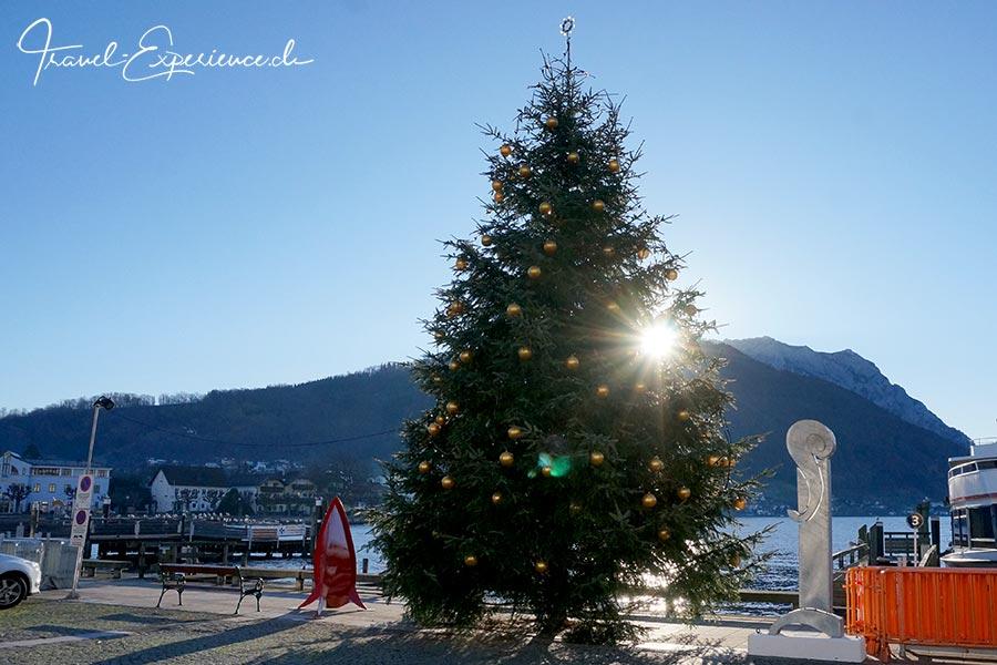oesterreich, gmunden, advent, tanne, weihnachtsbaum, see, schiffstation