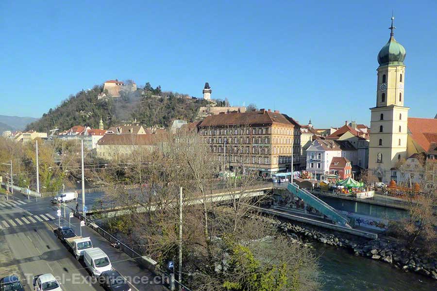 Österreich, Graz, Hotel Wiesler, Zimmer, Aussicht, Graz, Schlossberg, Franziskanerviertel