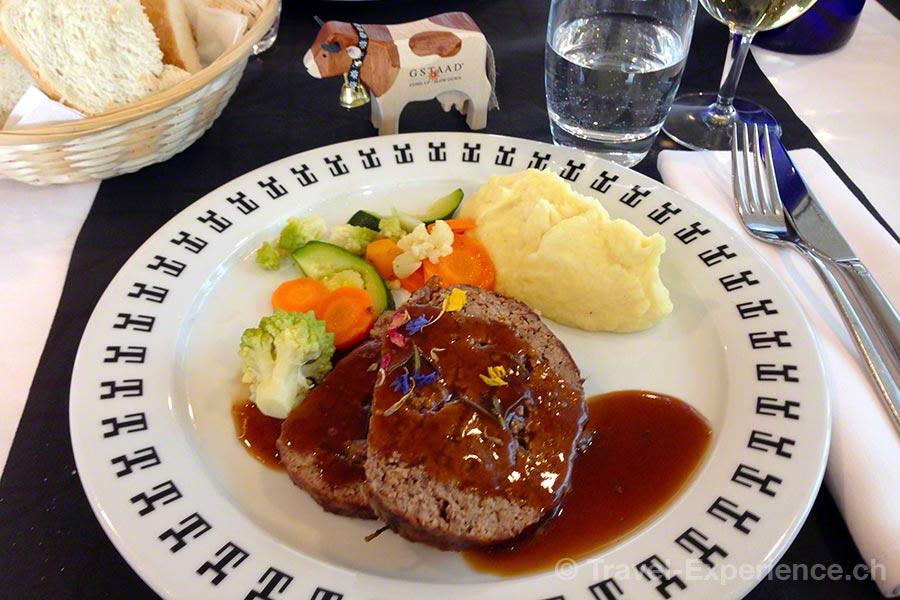 Gstaad, Restaurant Botta, Glacier 3000, Hackbraten und Kartoffelstock