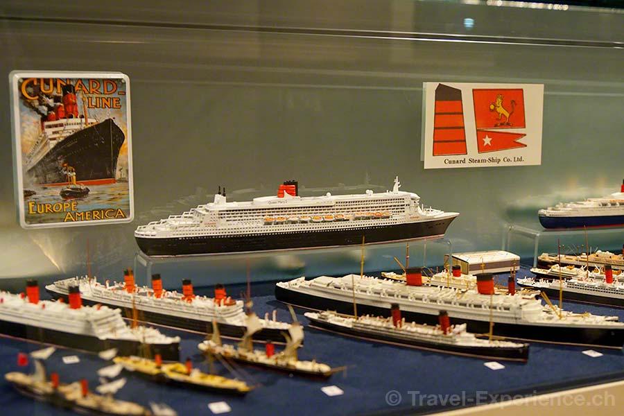 Hamburg, Maritimes Museum, Cunard, Modell, Schiff, Queen Mary, Elizabeth, Victoria