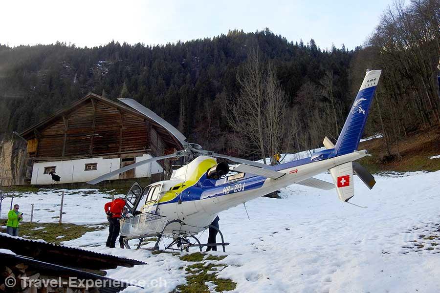 Berner Oberland, Helikopterflug, startplatz