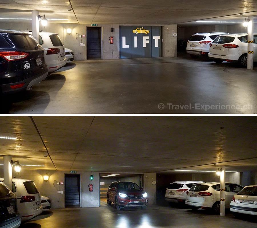 Schweiz, Lugano, Hotel International au Lac, Parkgarage mit Autolift