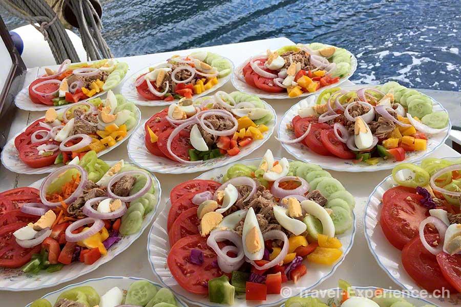 Griechenland, Korfu, Segelschiff, Rahsegler, Brigantine, Merlin, Mittagessen, Salat