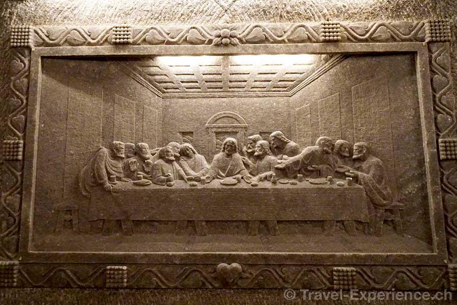 Polen, Salzmine Wieliczka, das letzte Abendmahl, Leonardo da Vinci, Antoni Wyrodek, Salz, flachrelief
