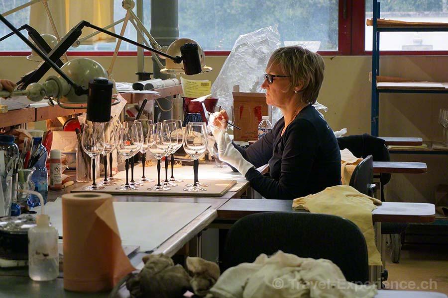Glasmanufaktur Lalique, Elsass, Frankreich, Weingläser