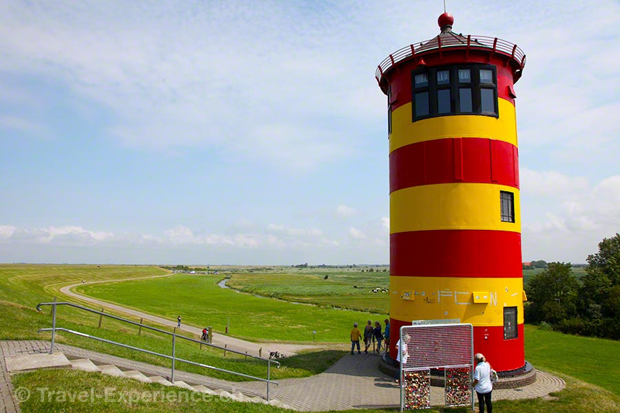 Ostfriesland, rot-gelb, Otto-Turm, Pilsumer Leuchtturm, Liebesschlösser