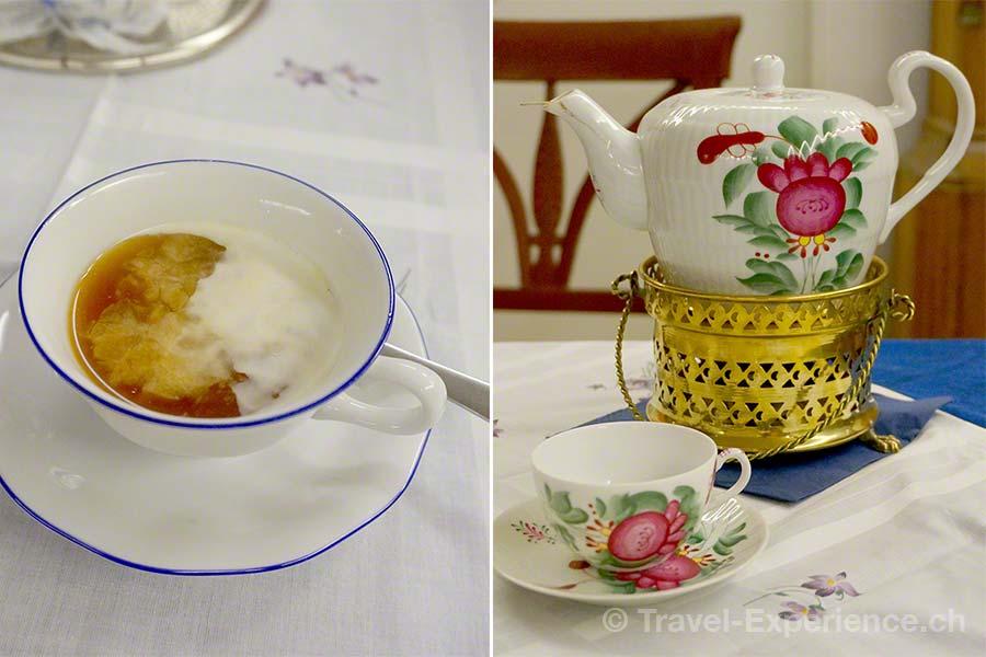Ostfriesland, Norden, Teemuseum, Sahnewolke, typisches Teeservice, Rose