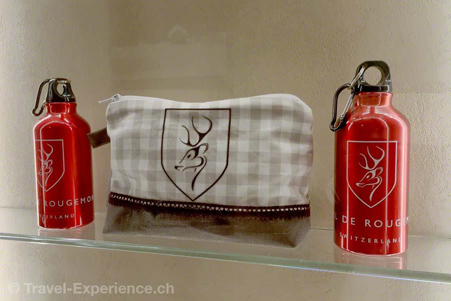 Schweiz, Waadt, Rougemont, Hotel de Rougemont, Souvenir, Trinkflasche, Beutel
