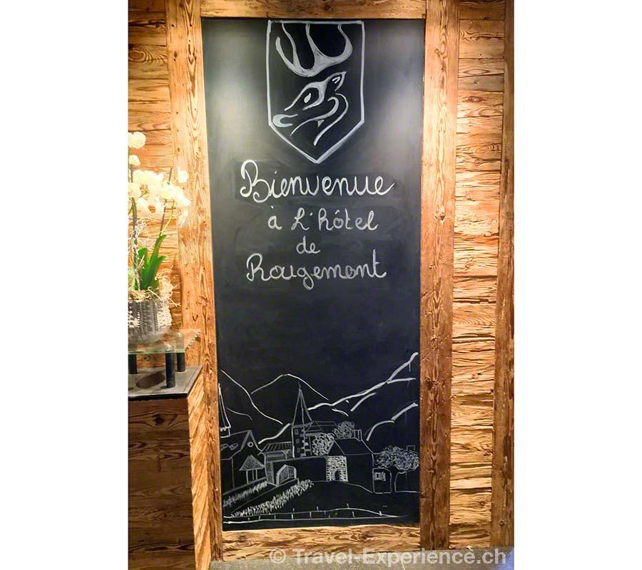 Schweiz, Waadt, Rougemont, Hotel de Rougemont, Willkommen