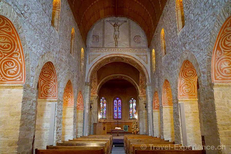 Schweiz, Waadt, Rougemont, Kirche Saint Nicolas,