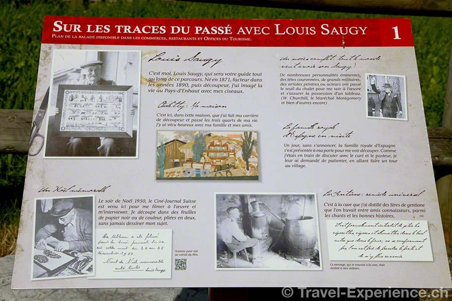 Schweiz, Waadt, Rougemont, Kulturweg, Tafel, Scherenschnitt, Ansichtskarte, Louis Saugy