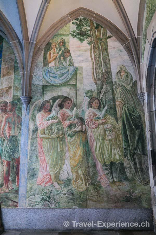 Zuerich, Kreuzgang, Fraumünster, Fresken, Felix, Regula, Exuperantius