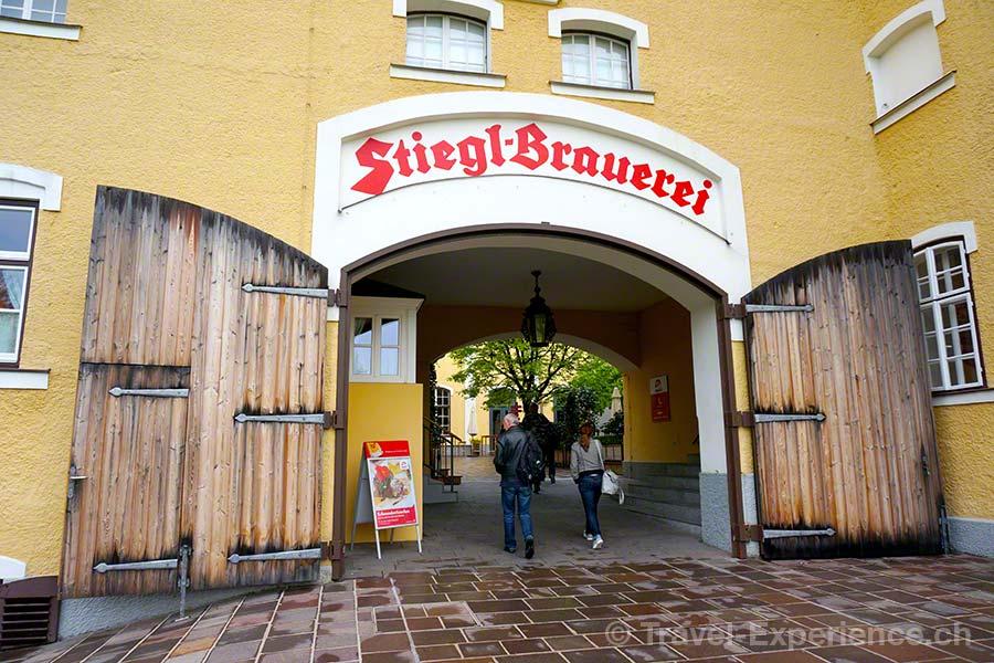 Salzburg, Bier, Stiegl Brauerei, Eingang