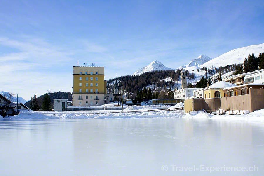 Schweiz, Graubünden, St. Moritz, Eisbahn, Kulm Hotel