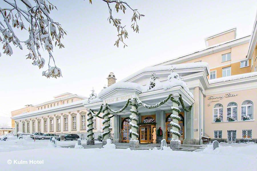 Schweiz, Graubünden, St. Moritz, Kulm Hotel, Eingang, Winter