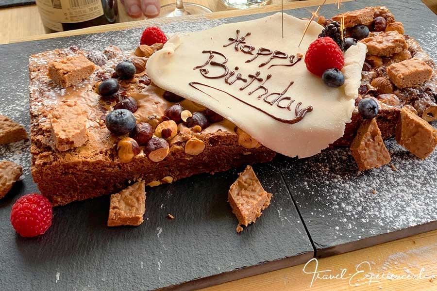 Schweiz, Wallis, Zermatt, Bergrestaurant Stafelalp, Brownie, Geburtstagskuchen,
