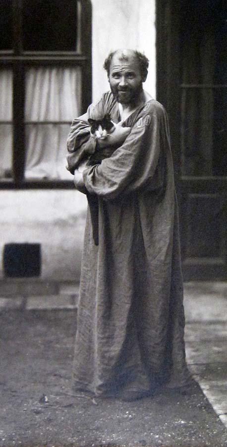 Gustav Klimt mit Katze