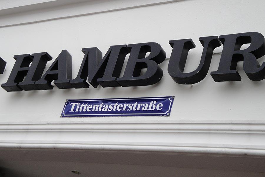 Wismar, Strassenschild, Tittentasterstrasse