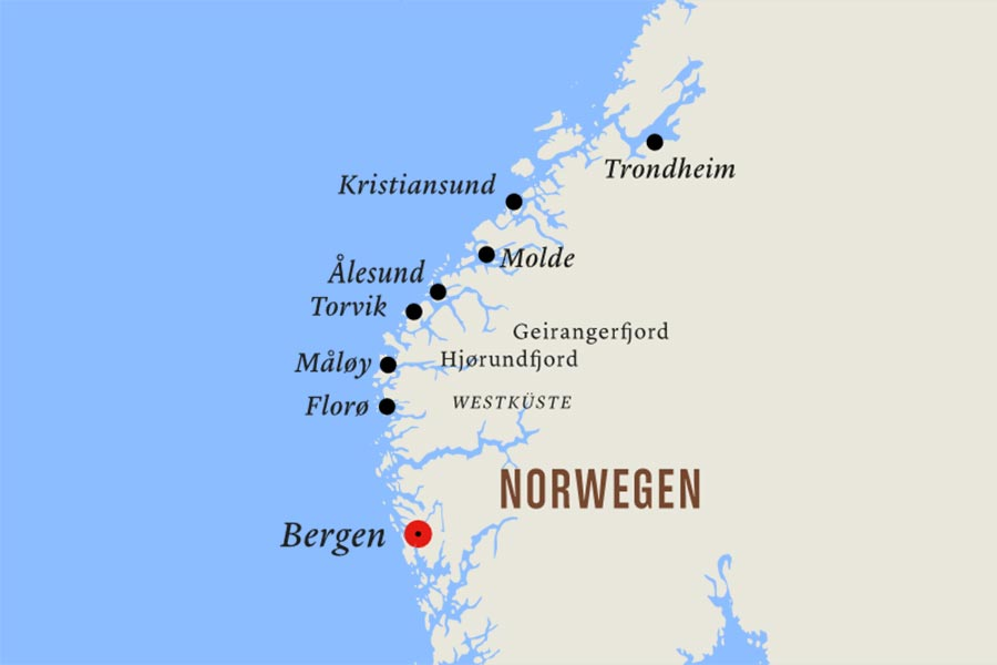 Kartenausschnitt Postschiffreise Hurtigruten