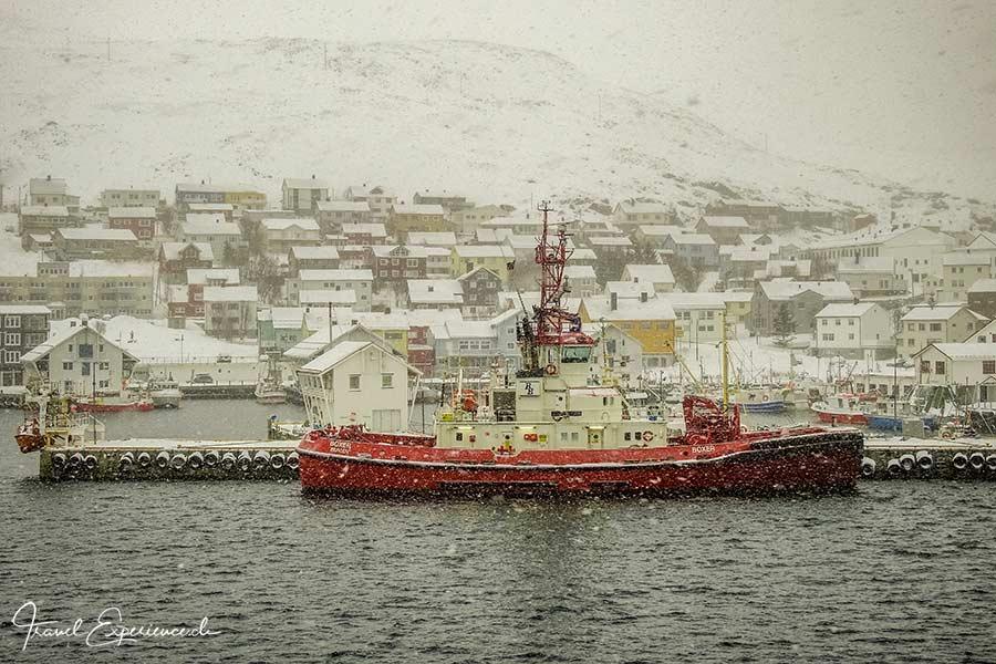 Postschiffreise, Hurtigruten, Honningsvag, Hafen
