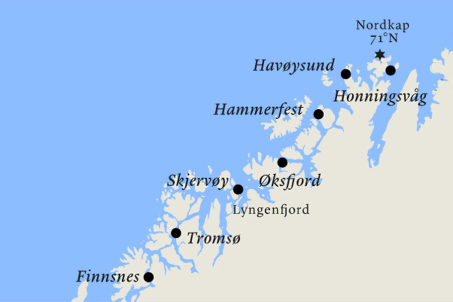 Postschiffreise, Hurtigruten, Karte, Finnsnes, Honningsvag