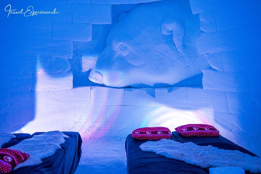Kirkenes, Snowhotel, Schlafzimmer, Eisbaer